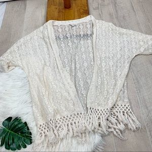 American Eagle Outfitters Sweaters - American Eagle Lace Open Front White Cardigan G
